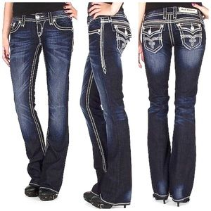 ROCK REVIVAL SHELLY BOOT STRETCH JEWELED JEANS 29
